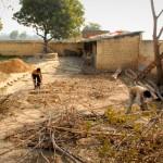 Eine Hasenzucht gibt es schon seit einiger Zeit im Sewa Ashram. Nun soll eine Ziegenherde dazu kommen. Auf dem Bild sieht man, wie der Platz dafür gesäubert und vorbereitet wird.